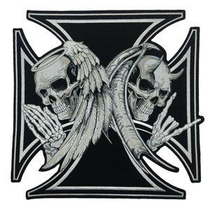 NEW ARRIVAL LARGE SIZE CROSS DEATH DEVIL SKULL PATCH ANGEL SKULL MOTORCYCLE BIKER 무료 배송에 대한 패치 와이어를 새겨 넣습니다.