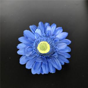 Seda artificial azul Daisy Flower Heads 11cm Real Touch Daisy Seda Flores Crisantemo Girasoles Flores para la decoración de la boda Patry