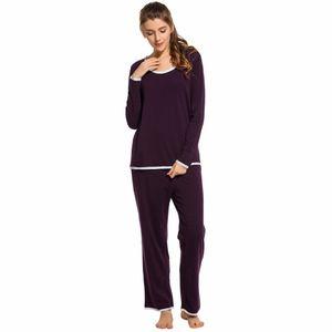 Ekouaer Patchwork Pijamas de Algodão Longo Pijama set Mulheres desgaste da sala O-pescoço Pijamas Set Roupas Tamanho S M L XL