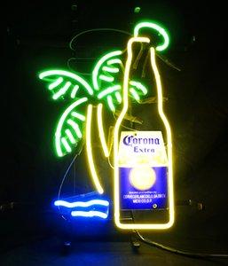 """Неоновая световая вывеска большая корона дополнительная бутылка пальмовое дерево 18""""x14"""" H606"""