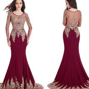 Дешевые длинные рукава в наличии Scoop Sheer декольте Русалка золото кружева аппликации Бургундия вечерние платья выпускного вечера Robe de Soiree Longue Party Dress