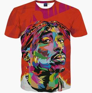 3D camisetas hip hop camiseta de los hombres 2016 nueva marca de moda 3d camiseta de impresión rapero Tupac 2 pc verano tapas camiseta delgada