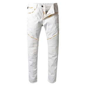 Jeans Men High Quality Brand Jeans Robin 2018 New Rivet Metal Tag Golden Wings Casual Robin Biker Gerade Male Jeans size 30-42