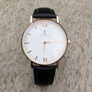 الأزياء KAPTEN SON العلامة التجارية النساء الرجال للجنسين حزام من الجلد كوارتز ساعة المعصم