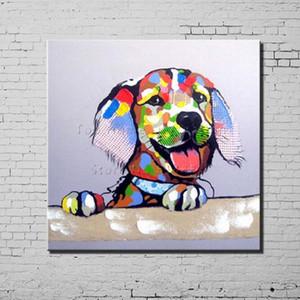 Cão Dos Desenhos Animados Pintura Da Lona Textura 100% Pintados À Mão Abstrata Moderna Pintura A Óleo Na Parede Da Lona de Arte Presente Decoração de Casa