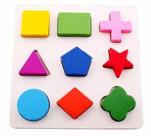 Novo Design 3 pcs Montessori Ensino Auxílios Puzzle Brinquedo De Madeira Forma Geometria Forma Divisão Divisão Placa Placa Gráfica Multicolorida