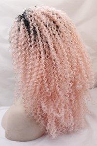 Alta densidade Peruca de Cabelo Sintético Kinky Curly Peruca 1B / rosa Ombre Kinky Curly Perucas Dianteiras Do Laço Sintético para As Mulheres com mais cores opcionais