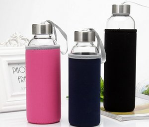 1PC 280ml Portable Glass Water Juice Kettle Protective Carry Bag Drinking Filter in Home Outdoor Travelling Water Bottle J1464