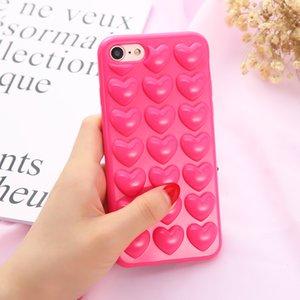 Per iphone x 8 3D cuore amoroso peach custodia in silicone morbido amanti copertura del telefono della gelatina shell posteriore con cordino corda appendere stringa per iphone 7 plus