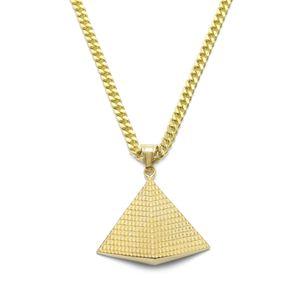 Coole Modeschmuck Hip-Hop 5mm Vergoldet Kubanische Kette 316 Edelstahl Anhänger Halskette Goldenes Dreieck Ägyptische Pyramide Anhänger