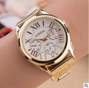 de lujo para hombre Relojes de acero inoxidable ginebra aleación de metal reloj deportivo vestido de cuarzo dial diseño roma informal de oro relojes de DHL
