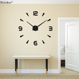 Wholesale- Home Decor 3D big size wall mirror sticker wall clock DIY acrylic mirror sticker wall clock living room meetting room