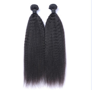 Malaysian Virgin Human Hair Kinky Straight Unprocessed Remy Hair Weaves Double Wefts 100g Bundle 2bundle lot Can be Dyed Bleached
