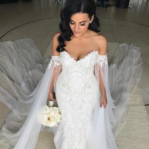 Romantische lange Mermaid Brautkleider 2017 Robe De Mariee Boot Hals voller Ärmel durchschauen zurück Applique Ballkleid Gericht Zug