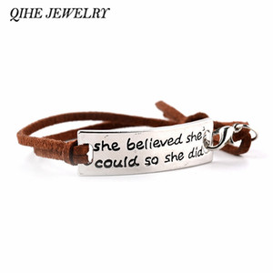 "All'ingrosso- QIHE JEWELRY ""ha creduto di poterlo fare così"" Incoraggiato Inspirational Letter Bracelet Tag Charm For Women Gifts"