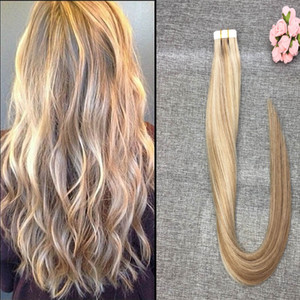 Tape in Hair Extensions 8A Grade Piano Color # P27 / 613 Real Tape Extensions Balayage Glue in Hair 14-26 inch for Fashion Women