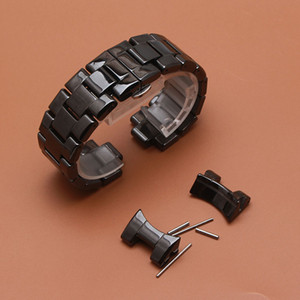 Reemplazo de una nueva correa de reloj relojes de cerámica accesorios para ar 1400 1410 negro reloj de pulsera para hombre correa de la correa promoción extremo curvo especial