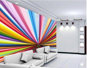 أعلى الكلاسيكية 3D النمط الأوروبي الحديث لون قوس قزح مع خلفيات جدارية خلفية 3D ورق الحائط 3D جميلة للتلفزيون خلفية