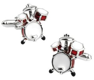 Personalidade Homens Jóias Music Lover Drum Guitar Abotoaduras Para Homens Camisa Acessório de Moda Música De Metal Projeto Abotoaduras