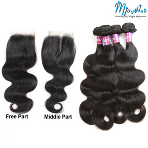 Peruvian Body Wave Human Remy Hair Bundles with Lace Frontal Closure,4pcs Virgin Hair Extensions with 1pcs Weaves 4*4 Swiss lace Closure