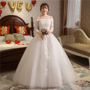 Weddng Dresses 2017 The Bride Unique 3 4 Sleeve Classic Lace Embroidery Elegant Boat Neck Empire Lace Up Luxury Bridal Dress F