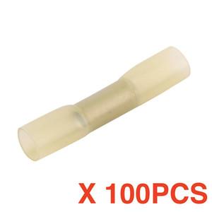 (100 pezzi / lotto) Manicotto a saldare Heat Shrink Butt Wire Splice Connettore a crimpare Terminali impermeabili Giallo BHT5.5 BHT5 12-10 AWG