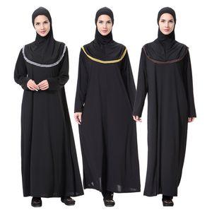 Ethnic Panos árabe muçulmano Mulheres Robes cor sólida Eslam vestidos longos Oriente Médio moda de alta qualidade Elasmic roupas longas