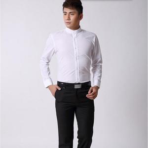 Estilo chinês homens camisa mandarim gola camisa de negócios branco alfaiate feito slim fit noivo smoking de casamento camisa de smoking