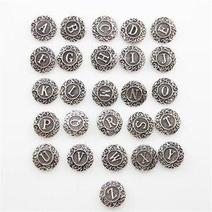 Snap Button Bijoux Antique Silver Button Snap Fit Snaps Button Bracelet Initial A-Z Alphabet Lettre 18mm Mélange En Gros ZA0026