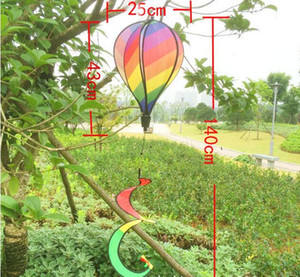Rainbow Stripe Grid Windsock Hot Air Balloon Wind Spinner Garden Yard Outdoor Decoration colorful windmills festive party Rotating windmill