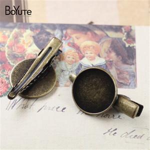 BoYuTe 18 MM Cabochon Base Plateau Cheveux Clip Blanc Paramètres 6 Couleurs Plaqué Mode Diy Cheveux Accessoires