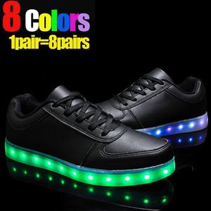 7 Farben leuchtende Schuhe unisex LED Glow Schuh Männer Frauen Mode USB wiederaufladbare Licht LED Schuhe für Erwachsene führte Sneaker Mode Freizeitschuh