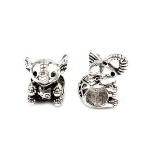 Los resultados de la moda joyería de los encantos y los componentes del grano lindo del elefante de la aleación estilo único agujero grande de la pulsera de Pandora Para