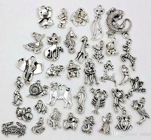 Горячо ! 140pcs 35 стиль Античное серебро цинковый сплав разнообразие животных Шарм кулон подходит браслет DIY ювелирных изделий