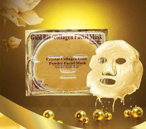 Ouro Bio-colágeno Máscara Facial Cristal De Colágeno Pó de Ouro Máscara Facial Hidratante Branqueamento Anti-envelhecimento Máscaras Cascas Rosto Cuidados Com A Pele por DHL