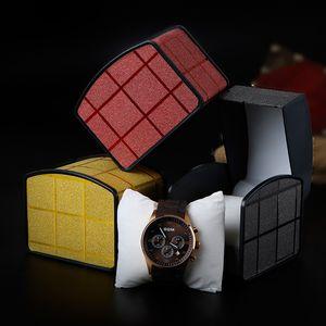 Мода часы коробки квадратные часы футляры с подушкой 3 цвета подарки коробки чехлы для ювелирных изделий коробка часы пакет наручные часы упаковка
