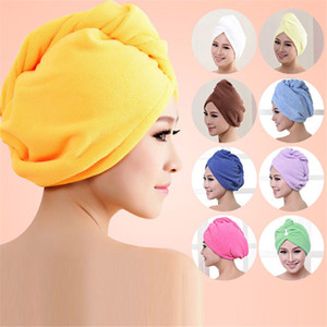Wholesale- New Microfiber Hair Wrap Towel Hat Turban Women Twist Quick Drying Dry Cap Ladies Plush Bath Spa Solid Free Shipping P102