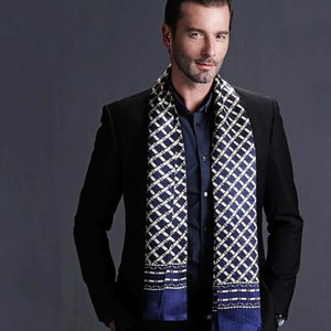 Fashion Silk Mens Marke 100% Schal / Cravat Wholesale- Seasons Double Layer Black__ Gifts__For 4 Lange Inlox