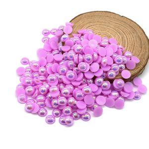 كل حجم ABS Lt.purple AB ظهر مسطح نصف حبات اللؤلؤ جولة نصف فضفاض Flatback البلاستيك الاكريليك حجر الراين حبة اللؤلؤ