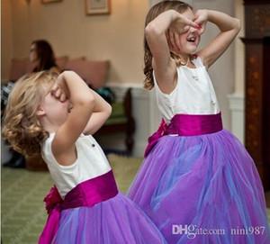 2018 neueste purpurrote Blumen-Mädchen kleidet für Hochzeiten Tüll-elastische Satin-Fußboden-Längen-Ballkleid-Festzug-Kleider für Mädchen Freies Verschiffen