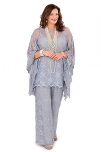 2020 Silver Gray Lace мама невесты брючный костюм с длинными рукавами три кусочка Формальные Плюс Размер жениха Mother Женщины Гость платья для свадьбы