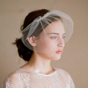 BacklakeGirls Short Simple Style Gesicht Braut Schleier Tüll Hochzeit Zubehör Günstige Auf Lager Soft Yarn Wedding Veil mit Kamm