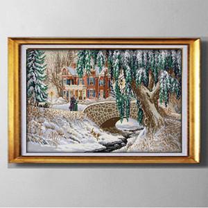 Natal Neve paisagem, DIY handmade Cross Stitch Needlework Define pinturas bordados contados impressos em lona DMC 14CT / 11CT