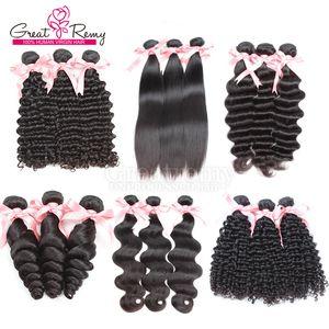 Greatremy® Brasilianisches menschliches Reines Haarbündel Bündel Schöne Haarkörper-Weave-FEFTS Natürliche Farbe Lose Deep Curly Wavy Hair Weft-Erweiterung