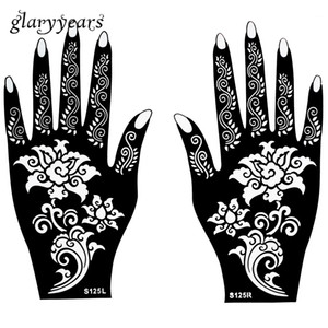Wholesale-Hot 1 Pair Henna Tattoo Stencil Beautiful Flower Pattern Design for Women Body Hands Mehndi Airbrush Art Painting 20 * 11cm S125