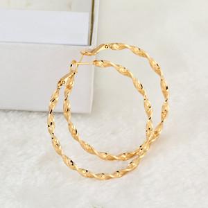 Boucles d'oreilles Femmes Bijoux Hotsale Haute Qualité 18K Jaune Jaune Gold Twist Hoops Huggie Big Boucles d'oreilles pour femmes