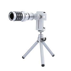Obiettivo del telescopio ottico dello zoom 12X Camera Lens Teleobiettivo Phone Telescope Camera Lens + Supporto treppiedi per l'iPhone Samsung Tutto telefono