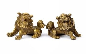 Pair poco costoso fortunato cinese Fengshui Pure Brass Guardian Foo Fu Dog Lion Statue Pair