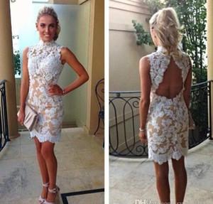 2021 vestidos de cocktail do laço vintage vestidos de alta colarinho branco champanhe de renda curta festa sem costas appliques vestidos de verão caindo