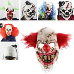 Scary Clown Mask Green Hair Buck Dientes Full Face Horror Masquerade Adult Ghost Party Mask Halloween Easter Props Disfraces HH7-100